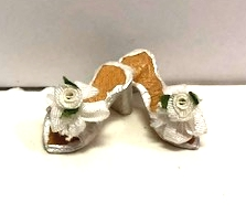White Satin Mules with Flowers