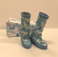 Blue Toile Print Boots