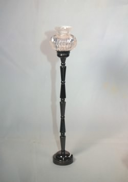Battery Operated LED Floor Lamp with Clear Shade, Black Finish