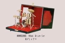 Brass Drum Set in Display Case