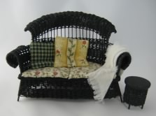 Black Wicker Settee and Table