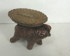 Elephant and Wicker Side Table