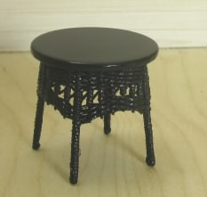 Black Wicker Side Table - Click Image to Close